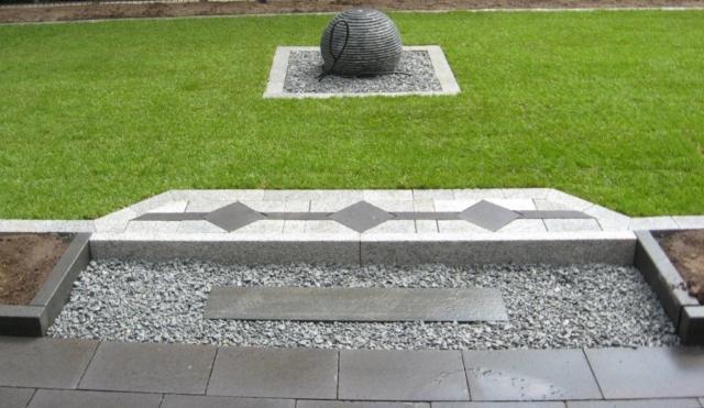 Dekoelemente anthrazit Granit Muster Brunnen