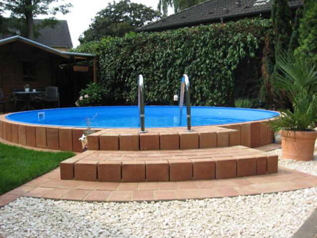 Pooleinfassung Schwimmbad Stufen Einfassung Geländer