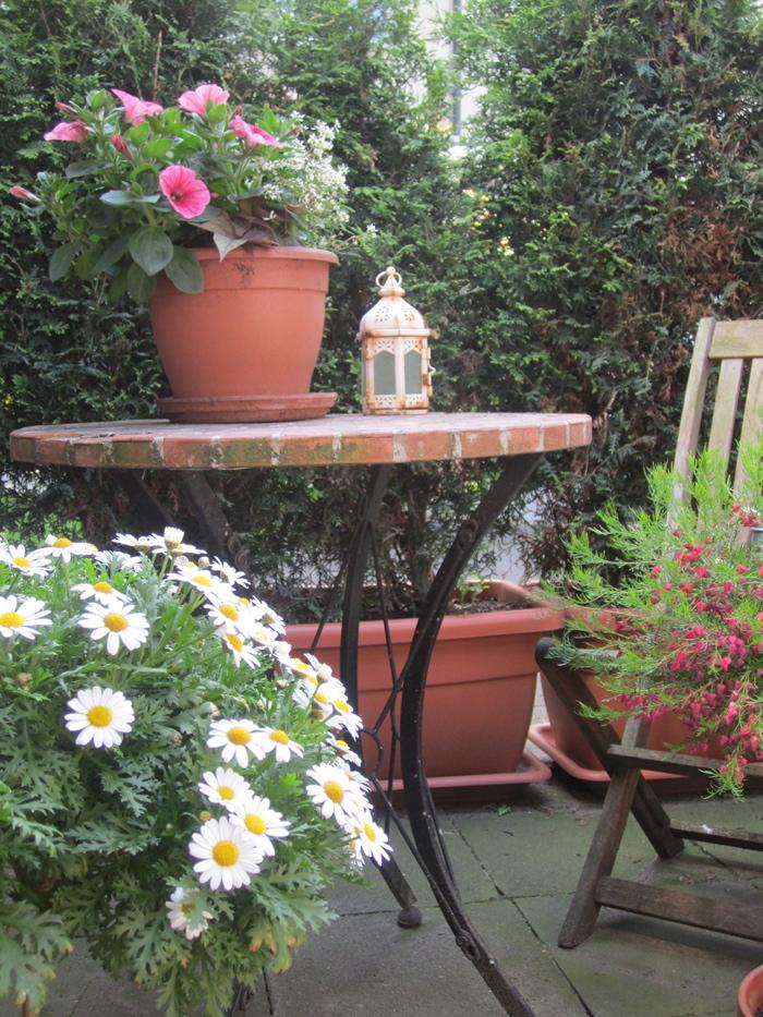 Kleine Terrasse und Kübel, Kübelpflanzen, Gartengestaltung